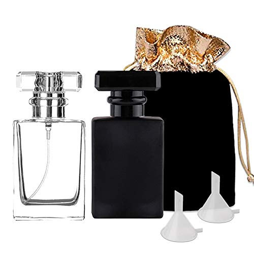 LYCK Perfume Bottle Atomizer with Funnels, 2 Pack 30ML Refillable Perfume Spray Fine Mist, Empty Spray Bottle Flint Glass Cologne atomizer for Travel, Handbag or Date(Gift Bag Included) (Black+White)