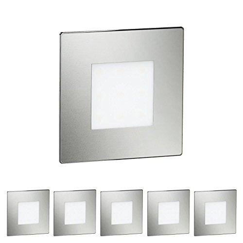 ledscom.de LED Treppen-Licht FEX Wand-Einbauleuchte, eckig, 8,5x8,5cm, 230V, warmweiß, 6 Stk.