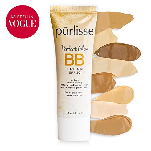 purlisse BB Tinted Moisturizer Cream SPF 30 for All Skin Types, Light Medium, 1.4 Ounce