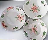 MaJe ceramista vajilla 9 piezas porcelana esmaltada a mano poinsettia navidad.
