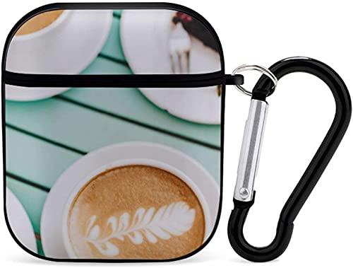 Airpod Case Funda para Airpods Apple AirPods 2 y 1 Postre Airpod Case para Niñas Protector Airpods Accesorios con llavero (Pastel esponjoso) - Negro-Una taza de café por la tarde1
