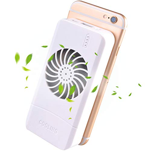 VIVISKY Portable Phone Fan 3 in 1 Phone Cooling Fan Power Bank Stand Holder Suitable for Any Smart Phone Tablet (White)