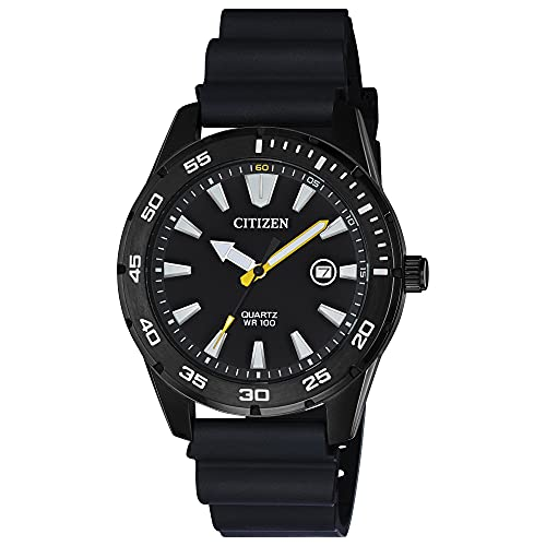 Citizen Quartz Mens Watch, Stainless Steel with Polyurethane strap, Casual, Black (Model:...