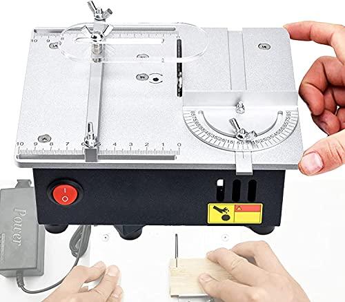 LXNQG Mini Mesa de Escritorio Sierra con Manguera de vacío, 96W, regulación de 7 velocidades, Motor 775 Mejorado, Aleación de Aluminio DIY Tabla Sierra, para Modelo de Madera Artesanía Corte Placa de