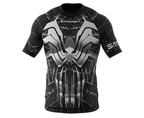SMMASH Venomour Rashguard Hombre Manga Corta, Camisetas Hombre para MMA, Artes Marciales,...