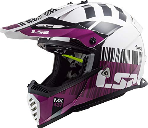 LS2 MX437 Fast Evo XCode - Casco de motocross, color blanco y morado, talla M (57/58)