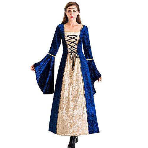 Lazzboy Frauen Retro Kleid Cosplay Halloween Kleidung Festival Lange Röcke Langarm Renaissance Mittelalter Viktorianischen Königin Kostüm Maxikleid(Blau,M)