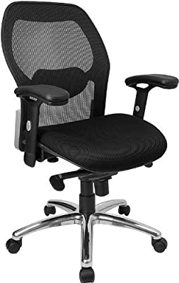a3ae578ce7b Offex High Back Super Mesh Office Chair with Black Fabric Seat and Knee  Tilt Control