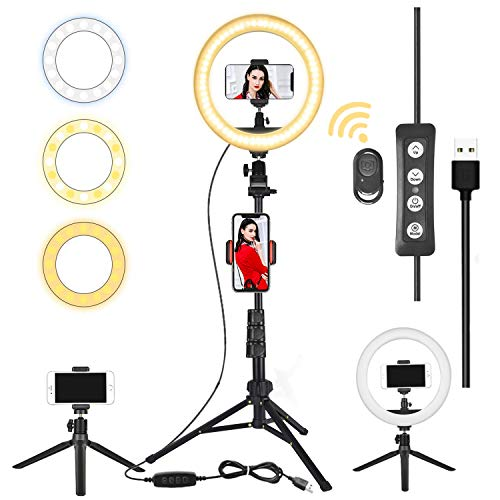 """Lifecapido 10"""" Selfie Ring Light with Tripod Stand 2 Phone Holders, LED Ring Lights Compatible with iPhone Android for Photography YouTube Video Makeup Live Stream, Dimmable Lighting Kit with 3 Modes"""
