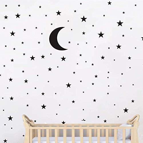 Pegatina de vinilo para pared, diseño de luna y estrellas, color negro