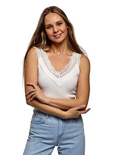 oodji Ultra Mujer Camiseta de Tirantes de Algodón con Encaje, Blanco, ES 38 / S
