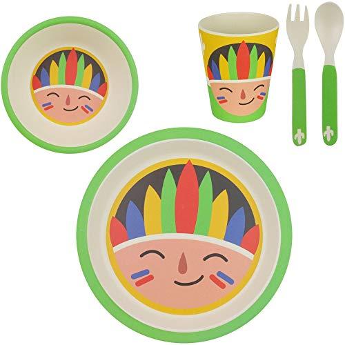 XX Small 38-1E-005 Set repas enfant Assiette Bol Verre et Couverts Bambou Multicolore (Indien)H24,5 x 10 x 25 cm
