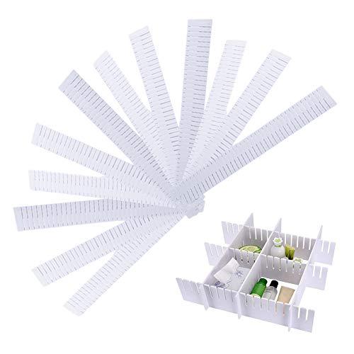 QWEPU 12PCS divisores de cajones Blancos, Plastic Drawer Dividers Ajustable DIY Plástico Separador de Armario Blanco Tidy Organizador Contenedor para Ropa Interior Calcetines Cinturón