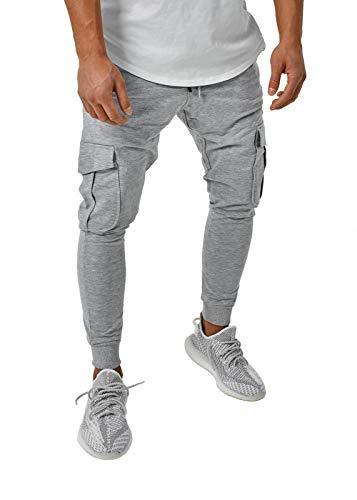 Herren Jogginghose Cargo Pants Jogger Schwarz Khaki Grau BR305, Größe:S, Farbe:Cargo Grau