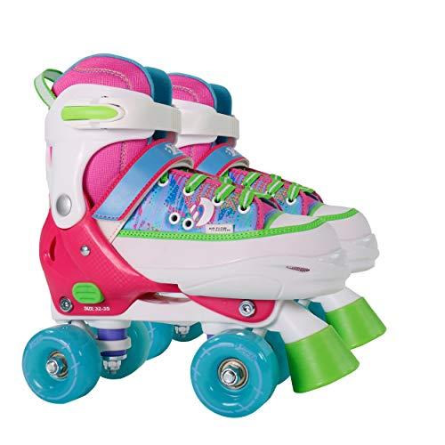 Best Sporting Rollschuhe für Kinder und Jugendliche, Größe verstellbar, ABEC 7 Carbon, pink, blau-weiß oder pink-weiß (pink/bunt, 28-31)