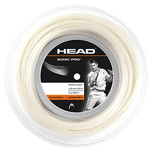 HEAD Sonic Pro - Cuerda para raqueta de tenis, 200 m, 1,30 mm de espesor, color blanco