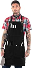 Under NY Sky Knife-Roll Ebony Black Apron – Heavy-Duty Canvas, Leather Reinforcement – Adjustable for Men and Women – Pro Chef, Barbecue, Butcher, Bartender, Woodworker, Tool Aprons