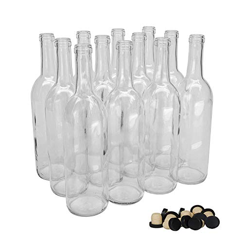 750ml Clear Glass Bordeaux Wine Bottles Cork Finish Case of 12 with 12 Tasting Corks