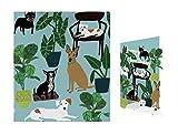Hoja de perros Palais papel de regalo y tarjeta de felicitación de cumpleaños cortada con láser con sobre blanco