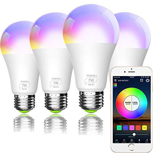 Smart WiFi Light Bulb, Bombilla LED Inteligente, A19 E27 RGBCW WiFi Dimmable LED Multicolor Lights, Compatible con Amazon Echo Alexa, Google Home e IFTTT (no se requiere concentrador) 7W (equivalente a 60w) 4 Pack
