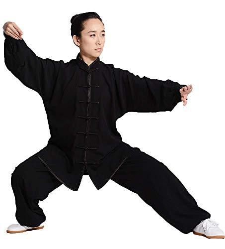 Traje De Tai Chi Ropa De Tai Chi para Hombre para Mujer Artes Marciales Ropa Suelta Cómoda Y Transpirable Kung FU Ropa De Yoga Traje De Meditación,Black-Small