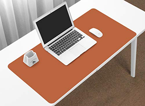 BOONA Desk Mat/Mouse Pad Protector-23.6''x11.8'' Multifunctional Ultra Thin Waterproof PU Leather Writing Pad for Office Laptop, Gaming Computer and Travel(60cmx30cm Double Side with Brown +Silvery)
