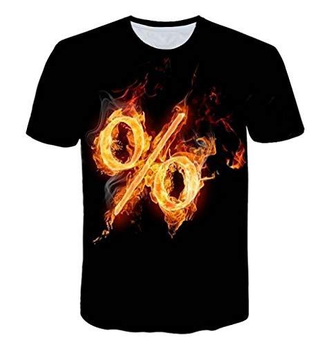 TJJF Camiseta de Moda para Hombre 3D Red Leisure tee Shirt Full Printed Flame% Musical Note Camiseta de Hombre