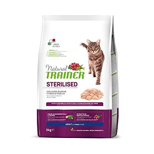 Trainer Natural - Cibo per gatti adulti sterilizzati, Alimento Secco con Carni Bianche e Fibra di...