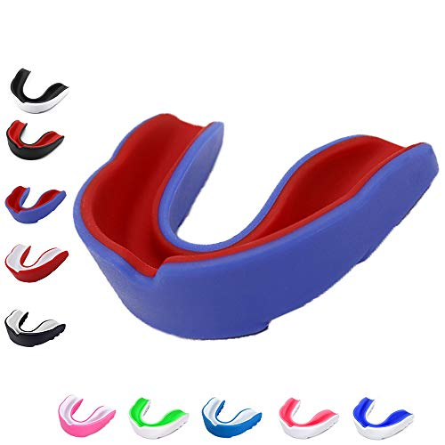 Sports Mouth Guard for Kids Youth /Adults-Mouthguard for Lacrosse, Basketball, Karate, Flag Football, Martial Arts, Rugby, Boxing, MMA, Hockey -Free Carrying Case for Mouthguard(blue red kids )