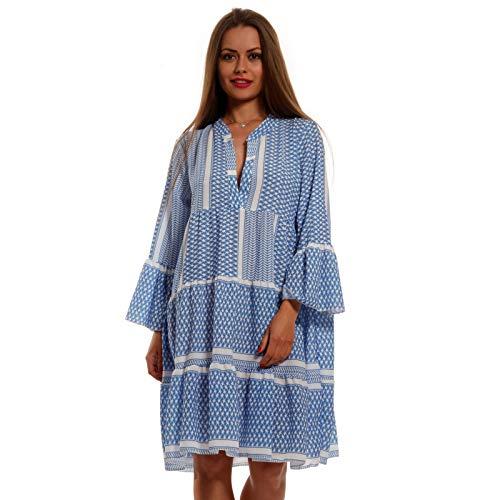 YC Fashion & Style Damen Tunika Kleid Retro Muster Boho Look Party-Kleid Freizeit Minikleid oder Strandkleid Kleid Für Frauen mit Kurven HP219 Made in Italy (One Size, Hellblau)
