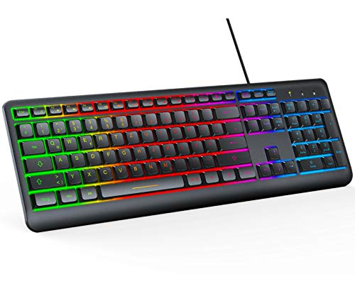 Jelly Comb Gaming Tastatur - 106 Tasten qwertz Layout Kabelgebundene Tastatur mit Regenbogen-LED-Hintergrundbeleuchtung, Plug-and-Play für Desktop/Laptop/Computer/Windows/Mac, Schwarz