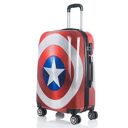 Impreso espejo trolley case hembra pequeña fresca estudiante universitario maleta 24 pulgadas equipaje universal-Capitán América_20 pulgadas