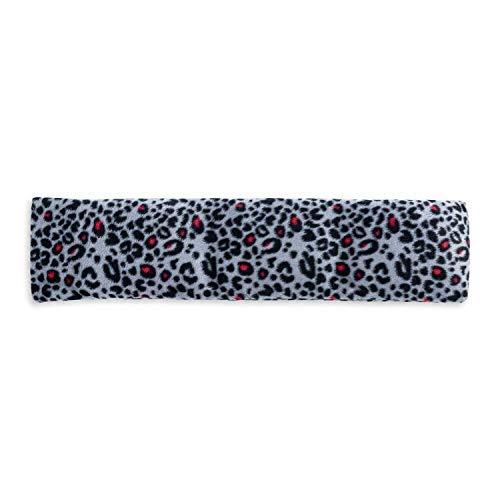 UMOI Cojín de huesos de cereza extra largo, 42x12cm, 350g de relleno de huesos de cereza, cojín de calor para el horno o el microondas, funda removible (Pink Leopard)