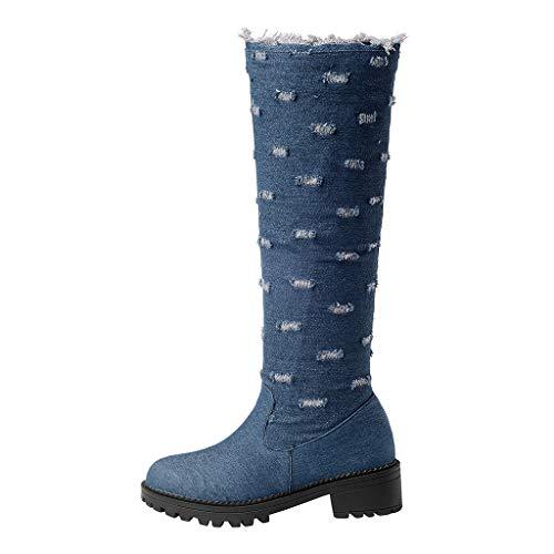 Stiefel Frauen Niedriger Absatz Booties Damen Retro Stiefeletten Denim Stitching Scratch Drucken Cowboystiefel Neue High Heels(35 EU,Blau)