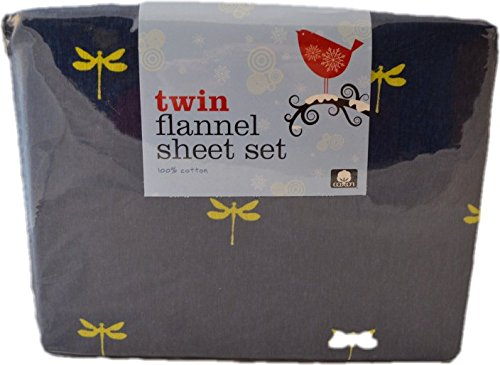 Divatex Home Fashions 100% Cotton Twin Flannel Sheet Set (Dragonfly Design)