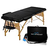 SereneLife Folding Portable Massage Table - Professional Adjustable Folding Salon Bed w/ 3 Sections, Face Cradle, Arm Rest & Carrying Bag for Therapy, Tattoo, Salon, Spa & Facial Treatment - SLMASGE1