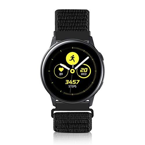 Vodtian 20mm Schnellwechsel Uhrenarmband für Samsung Galaxy Watch 42mm / Active2 44mm 40mm /Gear Sport/Gear S2 Classic/Garmin Vivoactive 3, Nylon Ersatz Sport Armband (20mm, Dunkles Schwarz)