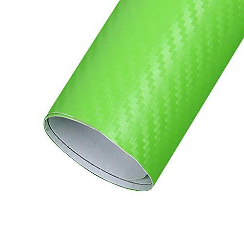 XUPHINX Pellicola Adesiva per Auto Cambia Colore, Film in Fibra di Carbonio Spessa 3D Solido Rotolo di Pellicola Lucida Avvolgente - Senza Bolle d'Aria Rilascio Libero (127x30cm) Verde