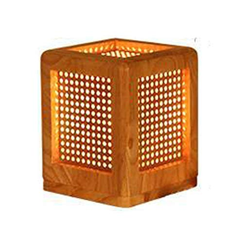 rurun Lampe de Table en Bois à Design Naturel - LED Lampe de Table en Forme de Cube en Bois