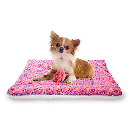 YUHUAWYH Coperta per Cani Gatti Lavabile Super Morbido Velluto Corallo Tappetino per Cani Coperta Spessa Doppia Faccia (S 50x32cm, Rosa)