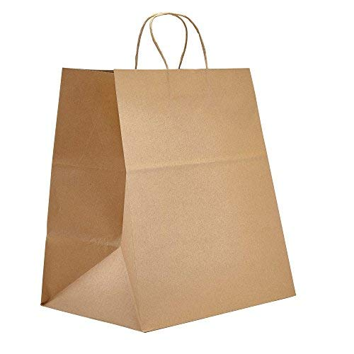 PTP BAGS Natural 14' x 9.75' x 15.5' Tote Bags [Pack of 200] Recyclable Kraft Paper Gift, Food Service Bags