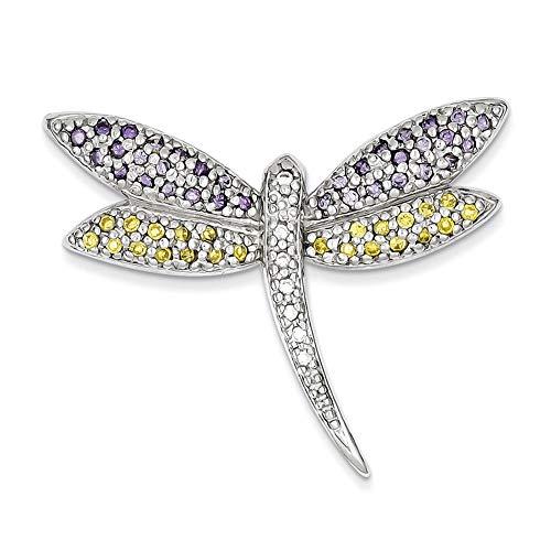 Lex & Lu - Pin de plata de ley púrpura, amarillo y claro CZDragonfly