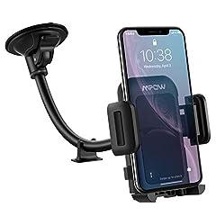 Idea Regalo - [Versione Aggiornata] Mpow Porta Cellulare da Auto, Supporto Smartphone per Auto per Parabrezza, Regolabile a 360 Gradi e Antiscivolo, Porta Cellulare per Smartphone e GPS Dispositivi