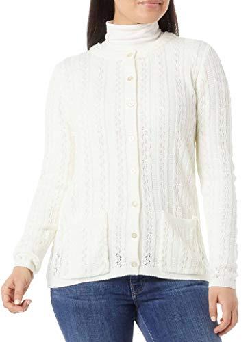 AmeriMark Women's Cable Stitch Cardigan Sweater – Lightweight Long Sleeve Knit White 3X