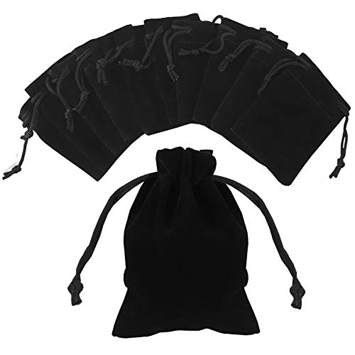 Pouchy 10Pcs Soft Black Velvet Jewellery Pouches Gift Bags with Drawstring (10x12 cm)