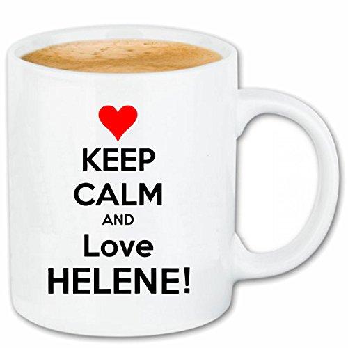 Reifen-Markt Kaffeetasse Keep Calm and Love Helene Keramik Höhe 9,5cm & 8cm Durchmesser 330 ml in Weiß für jeden Liebhaber/Fan genau das richtige