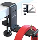 [Newest Upgrade] Foldable Headphone Stand Hanger with Cable Clip Organizer, Aluminum Headset Stand Holder Under Desk, Headphone Bracket Clamp Hook Save Space, Universal Fit PC Gaming Headsets APPHOME