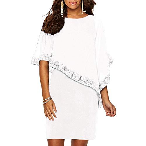 Ancapelion Damen Kleid Ärmellos Minikleid Chiffon Cocktailkleid Pailletten Pencil Partykleid Lässige Kleidung Abendkleid Frauenkleid Kleid für Frauen, Weiß, M(EU 38-40)