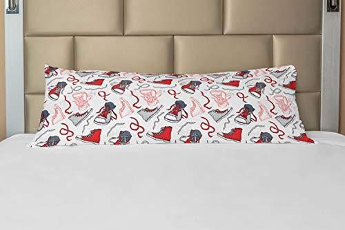 ABAKUHAUS Modern Hoes voor Ligzak met Rits, Sport Schoenen Sneakers, Decoratieve Lange Kussensloop, 53 x 137 cm, Vermilion Wit Grijs