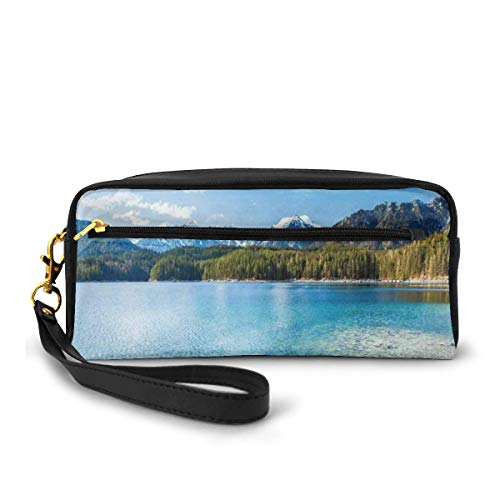 Pencil Case Pen Bag Pouch Stationary,Snowy Mountain Tops from Old Wood Deck Pier by Sea Idyllic Calm Coastal Charm,Small Makeup Bag Coin Purse